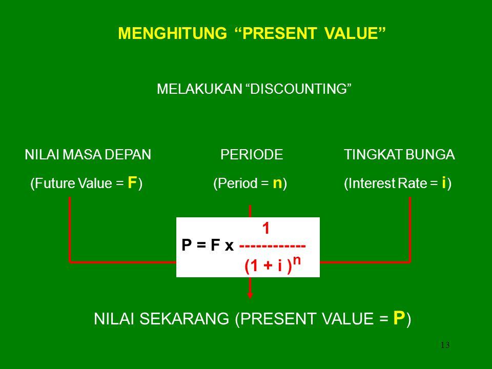 MENGHITUNG PRESENT VALUE