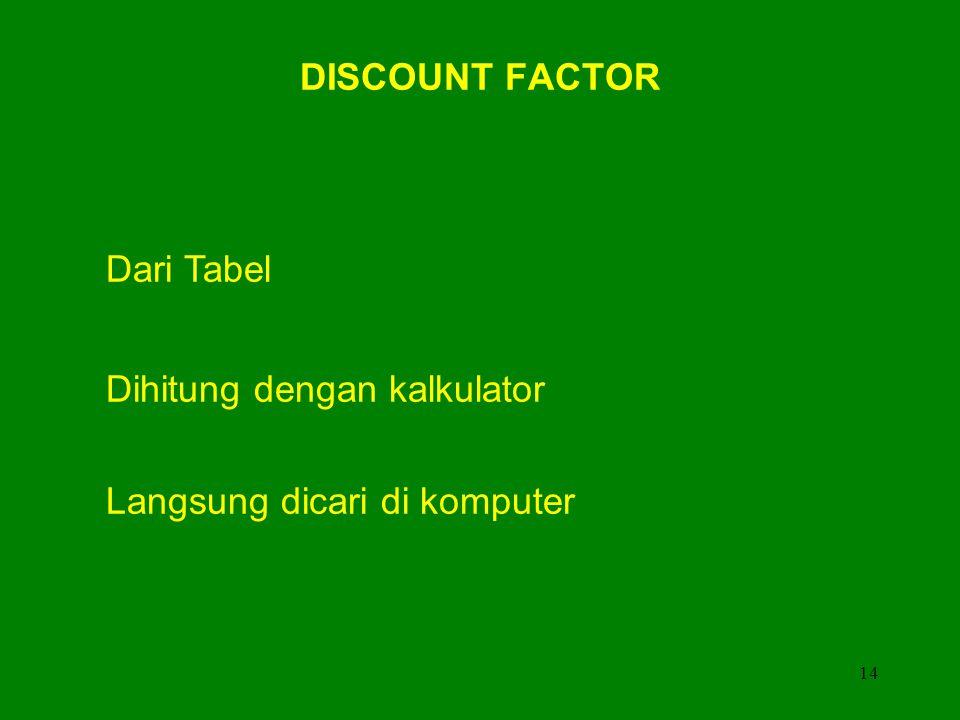 DISCOUNT FACTOR Dari Tabel Dihitung dengan kalkulator Langsung dicari di komputer