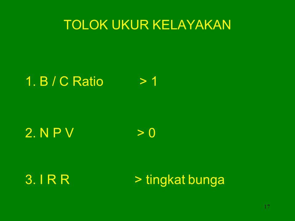 TOLOK UKUR KELAYAKAN 1. B / C Ratio > 1 2. N P V > 0 3. I R R > tingkat bunga