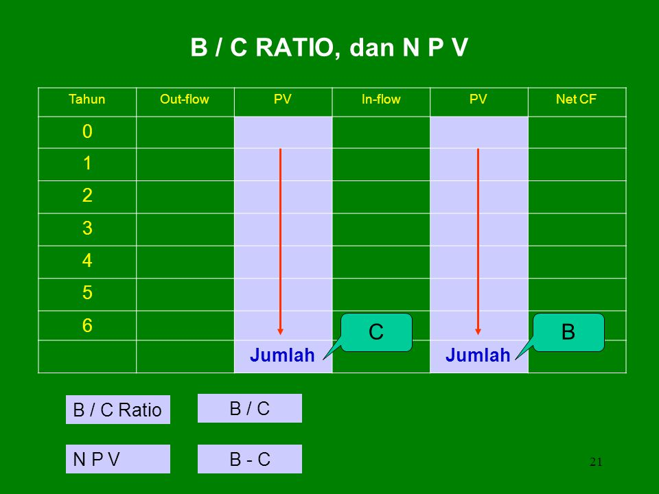 B / C RATIO, dan N P V C B 1 2 3 4 5 6 Jumlah B / C Ratio B / C N P V