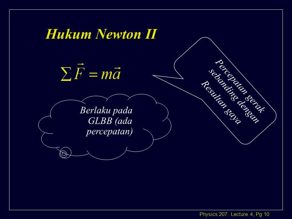 Hukum Newton II Percepatan gerak sebanding dengan Resultan gaya