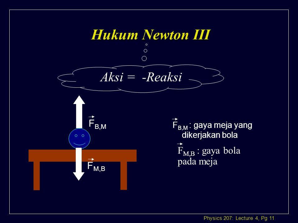 Hukum Newton III Aksi = -Reaksi FB,M FM,B : gaya bola pada meja FM,B