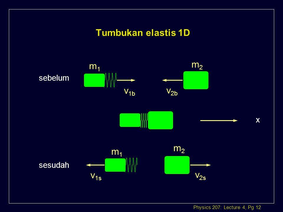 Tumbukan elastis 1D m1 m2 sebelum v1b v2b x m2 m1 sesudah v1s v2s
