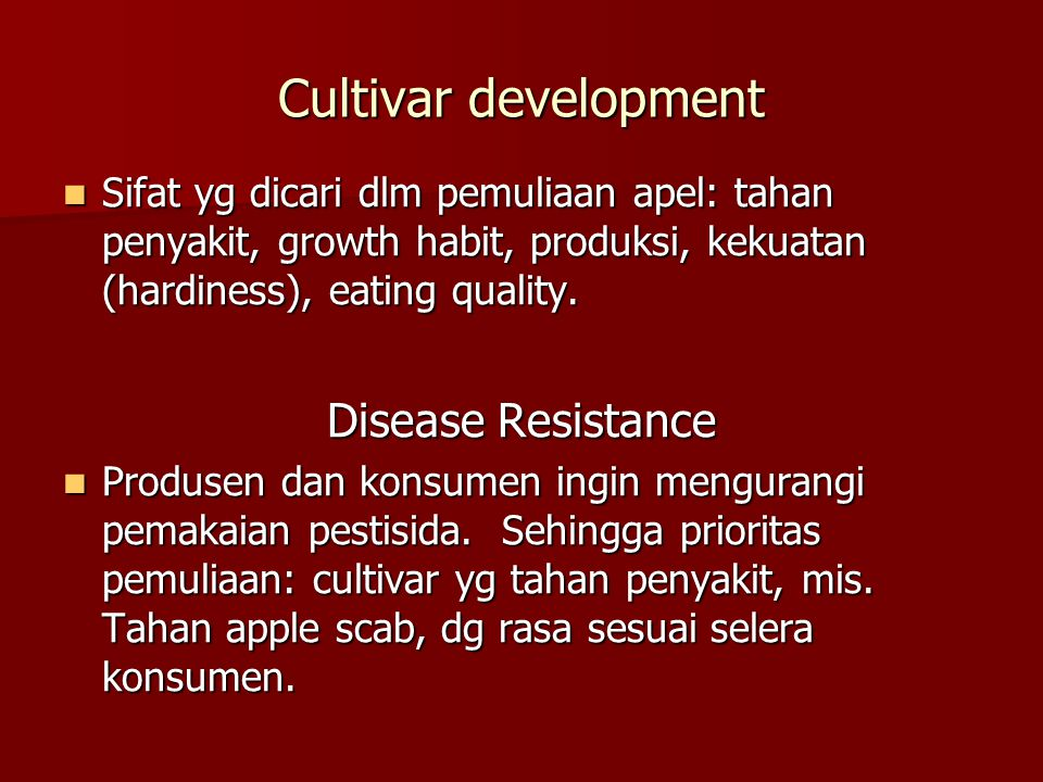 Cultivar development Disease Resistance