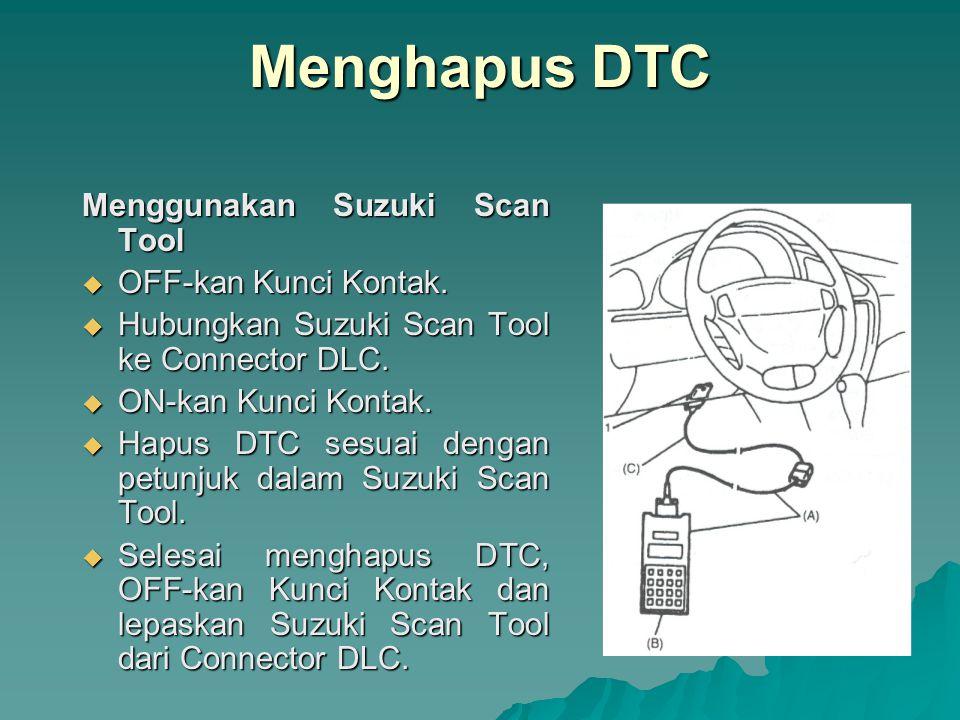 Menghapus DTC Menggunakan Suzuki Scan Tool OFF-kan Kunci Kontak.
