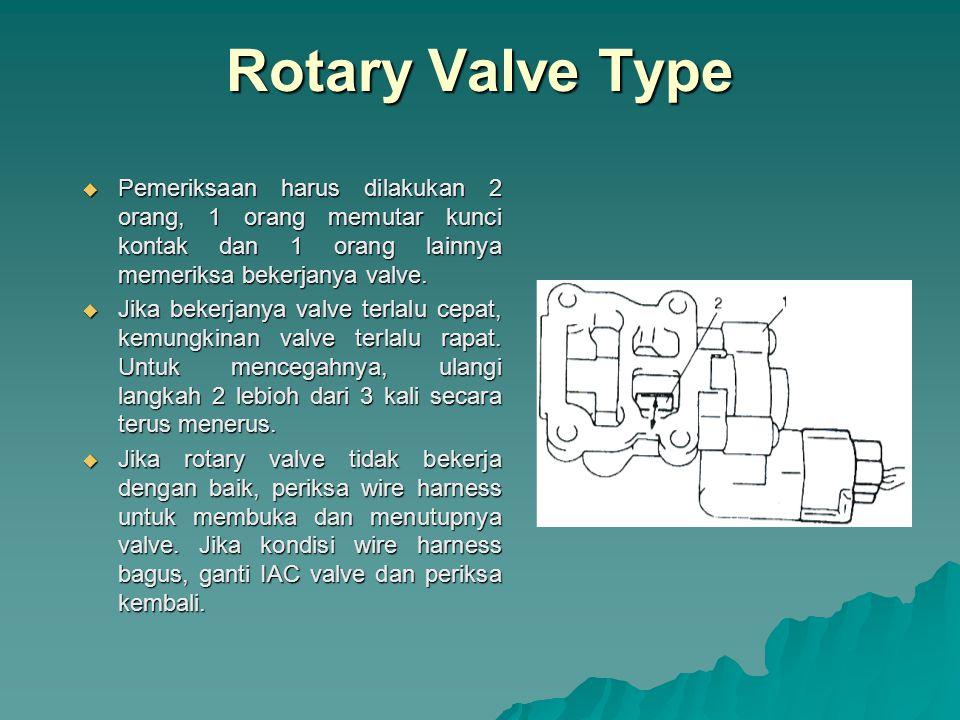 Rotary Valve Type Pemeriksaan harus dilakukan 2 orang, 1 orang memutar kunci kontak dan 1 orang lainnya memeriksa bekerjanya valve.