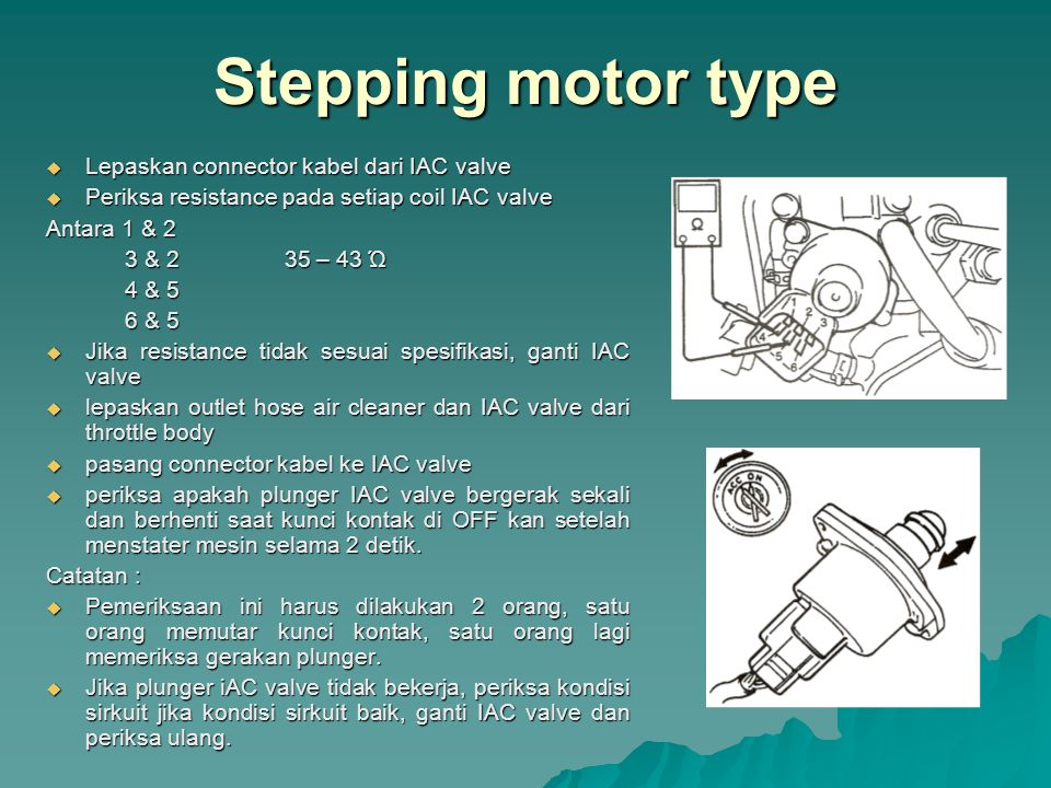 Stepping motor type Lepaskan connector kabel dari IAC valve