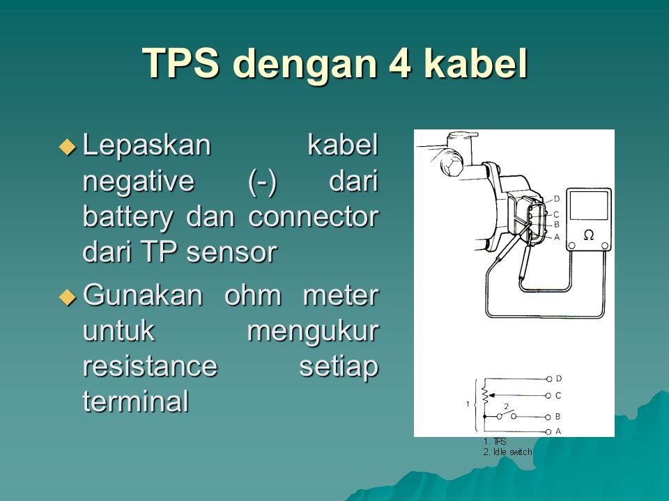 TPS dengan 4 kabel Lepaskan kabel negative (-) dari battery dan connector dari TP sensor.