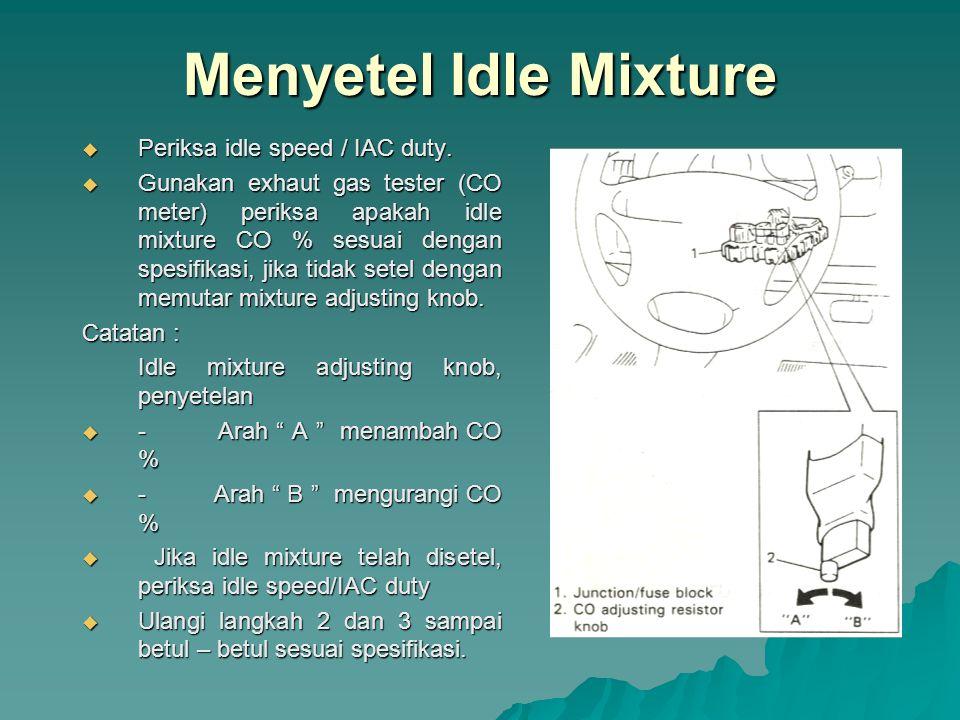 Menyetel Idle Mixture Periksa idle speed / IAC duty.