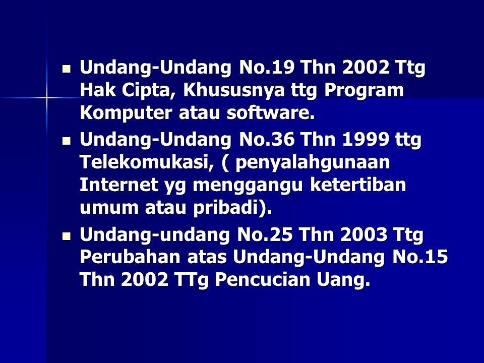 Undang-Undang No.19 Thn 2002 Ttg Hak Cipta, Khususnya ttg Program Komputer atau software.