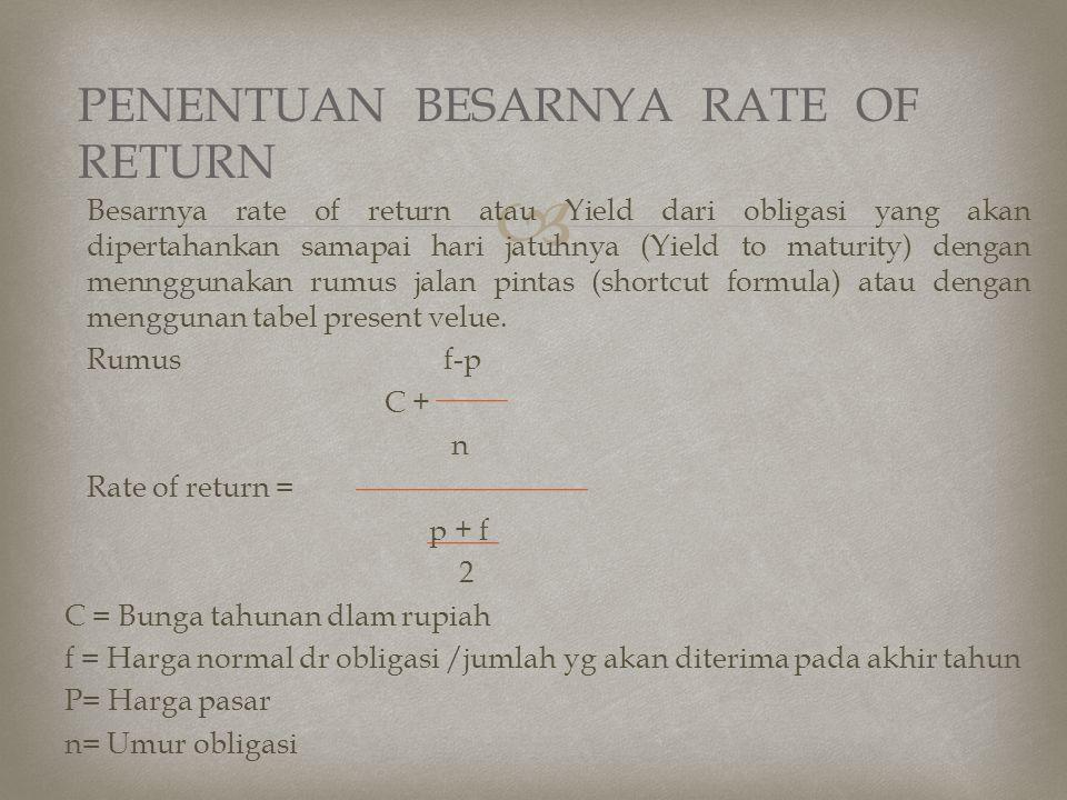 PENENTUAN BESARNYA RATE OF RETURN