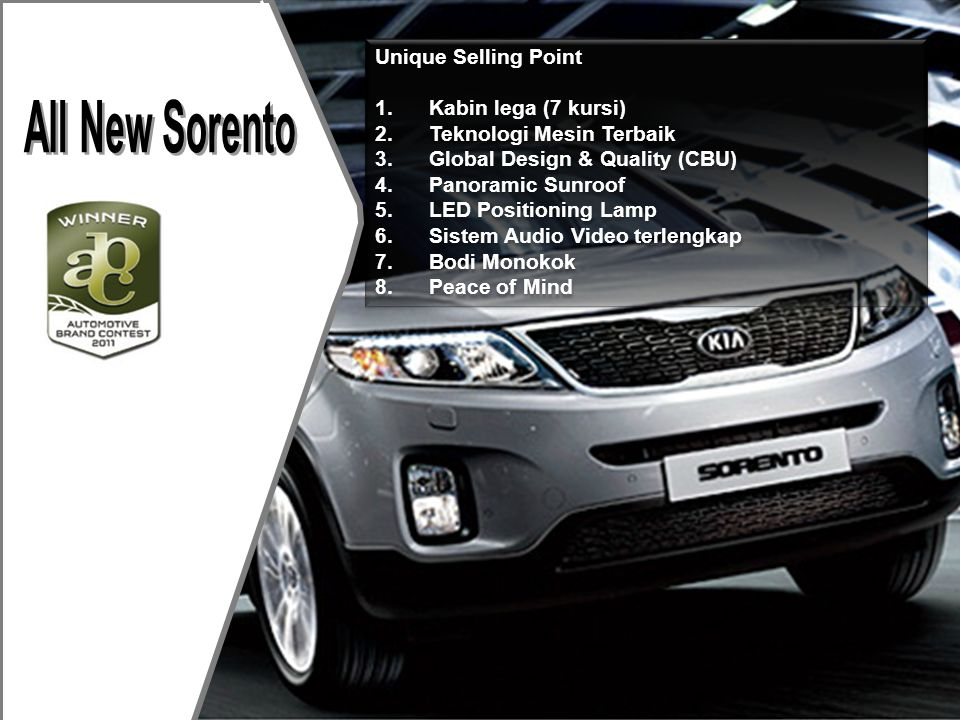 All New Sorento Unique Selling Point Kabin lega (7 kursi)