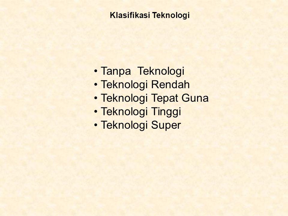 Tanpa Teknologi Teknologi Rendah Teknologi Tepat Guna Teknologi Tinggi