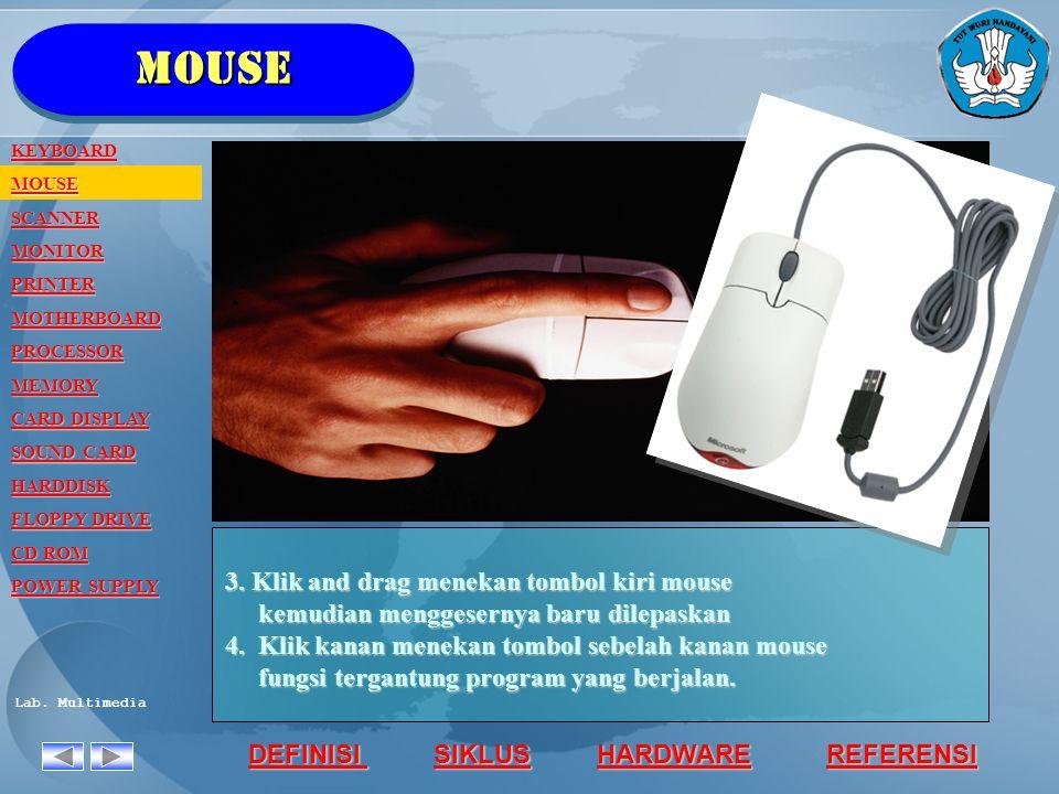 mouse 3. Klik and drag menekan tombol kiri mouse