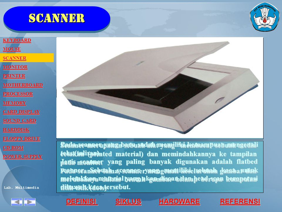 scanner KEYBOARD. MOUSE. SCANNER. MONITOR. PRINTER. MOTHERBOARD. PROCESSOR. MEMORY. CARD DISPLAY.