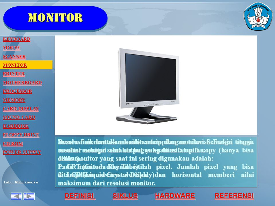 monitor KEYBOARD. MOUSE. SCANNER. MONITOR. PRINTER. MOTHERBOARD. PROCESSOR. MEMORY. CARD DISPLAY.