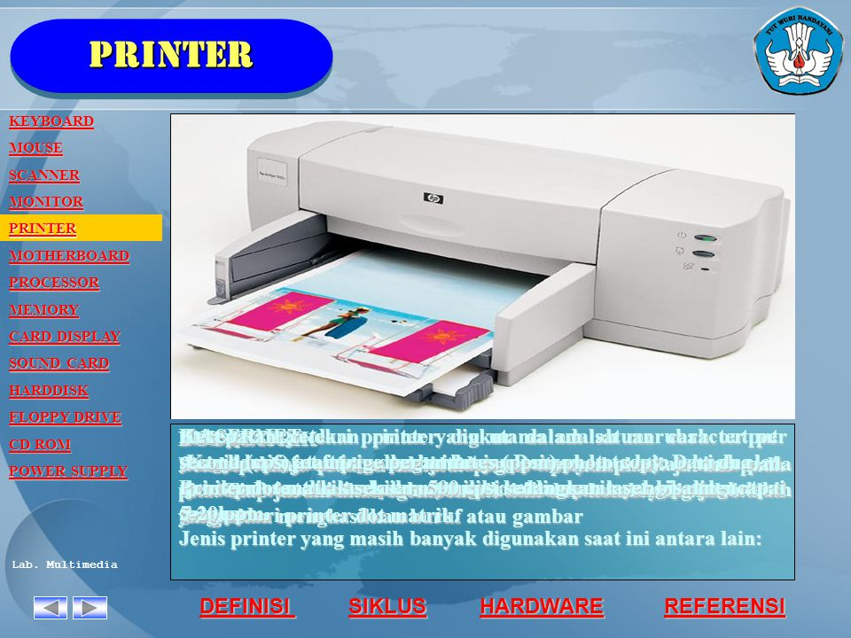 printer KEYBOARD. MOUSE. SCANNER. MONITOR. PRINTER. MOTHERBOARD. PROCESSOR. MEMORY. CARD DISPLAY.