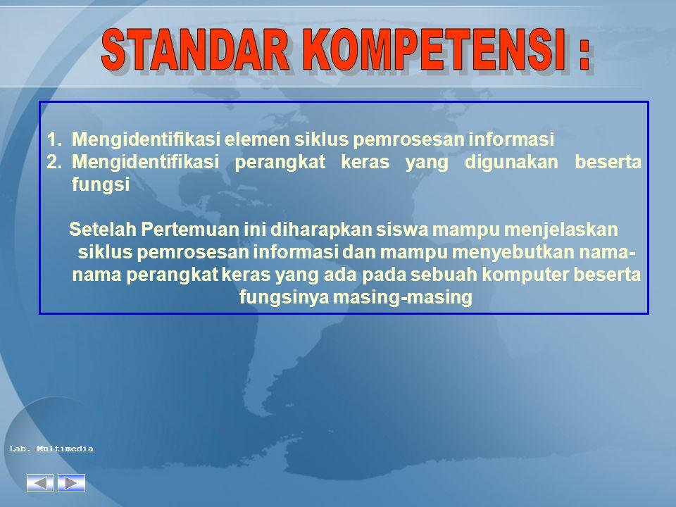 STANDAR KOMPETENSI : Mengidentifikasi elemen siklus pemrosesan informasi. Mengidentifikasi perangkat keras yang digunakan beserta fungsi.