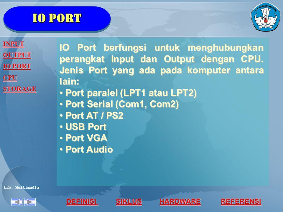 Io port INPUT. OUTPUT. IO PORT. CPU. STORAGE.