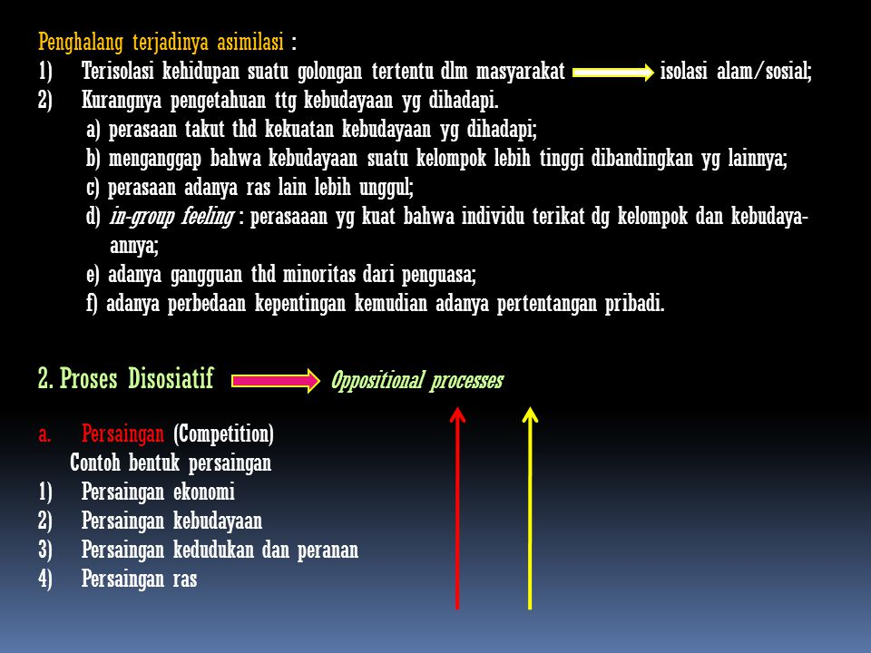 2. Proses Disosiatif Oppositional processes