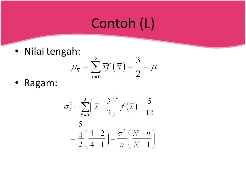 Contoh (L) Nilai tengah: Ragam: