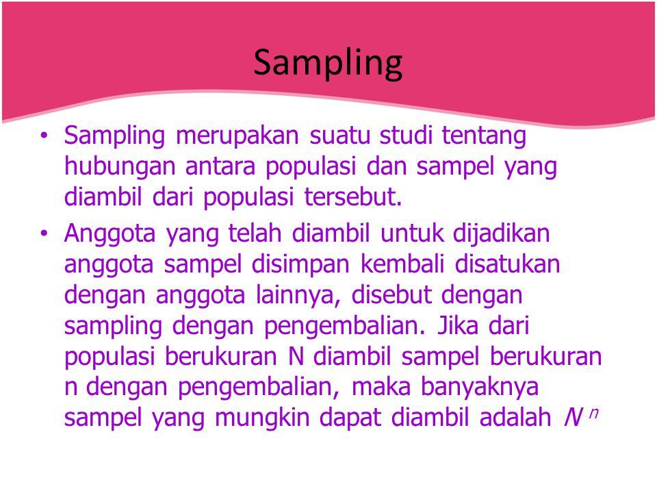 Sampling Sampling merupakan suatu studi tentang hubungan antara populasi dan sampel yang diambil dari populasi tersebut.