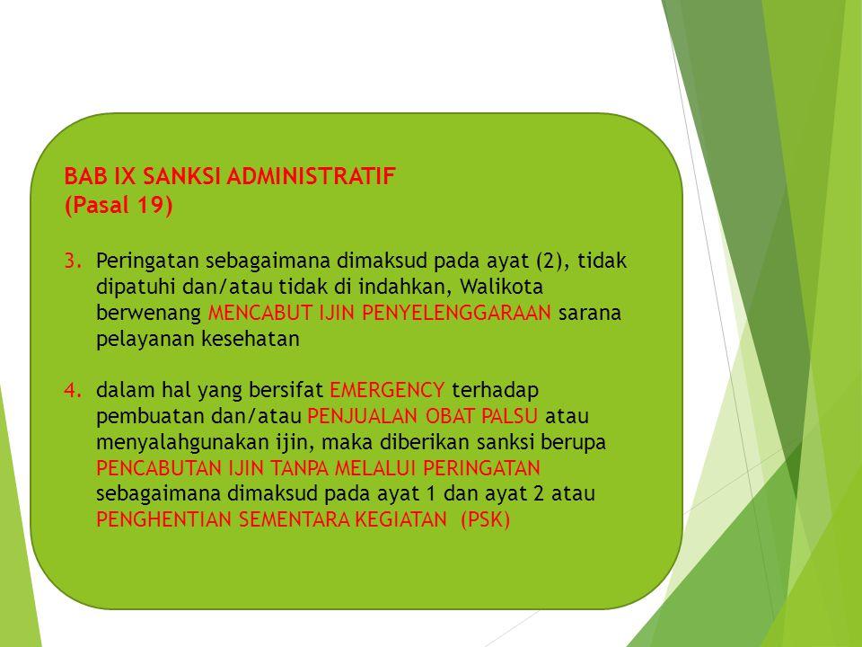 BAB IX SANKSI ADMINISTRATIF (Pasal 19)