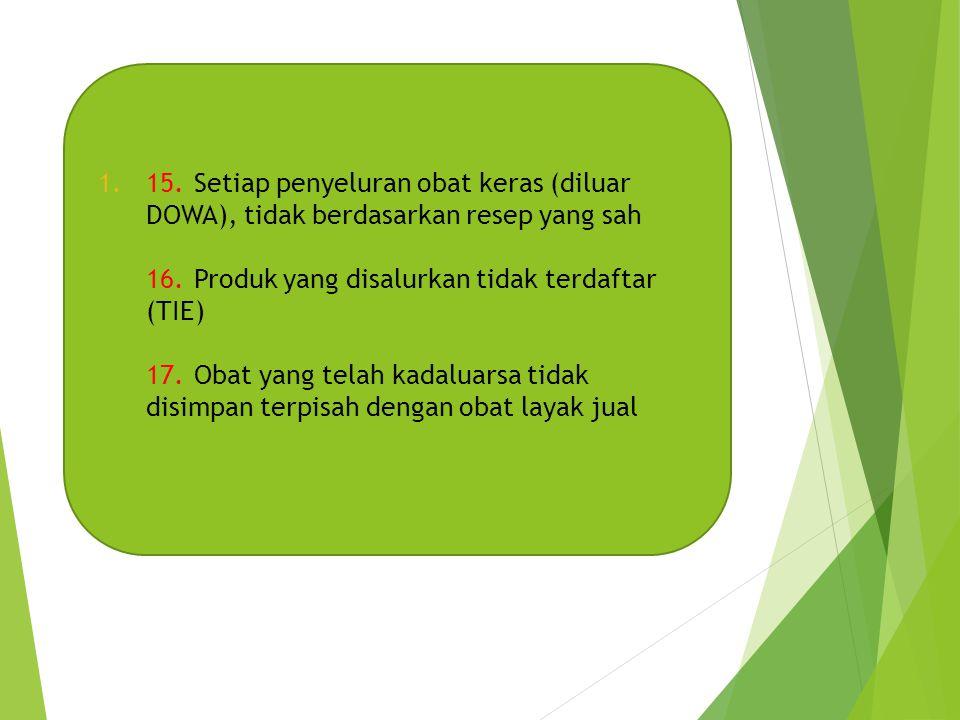 15. Setiap penyeluran obat keras (diluar DOWA), tidak berdasarkan resep yang sah 16. Produk yang disalurkan tidak terdaftar (TIE) 17. Obat yang telah kadaluarsa tidak disimpan terpisah dengan obat layak jual