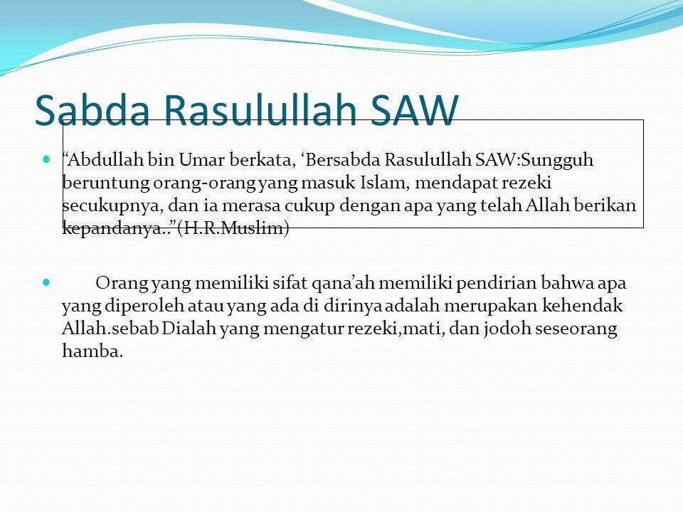 Sabda Rasulullah SAW