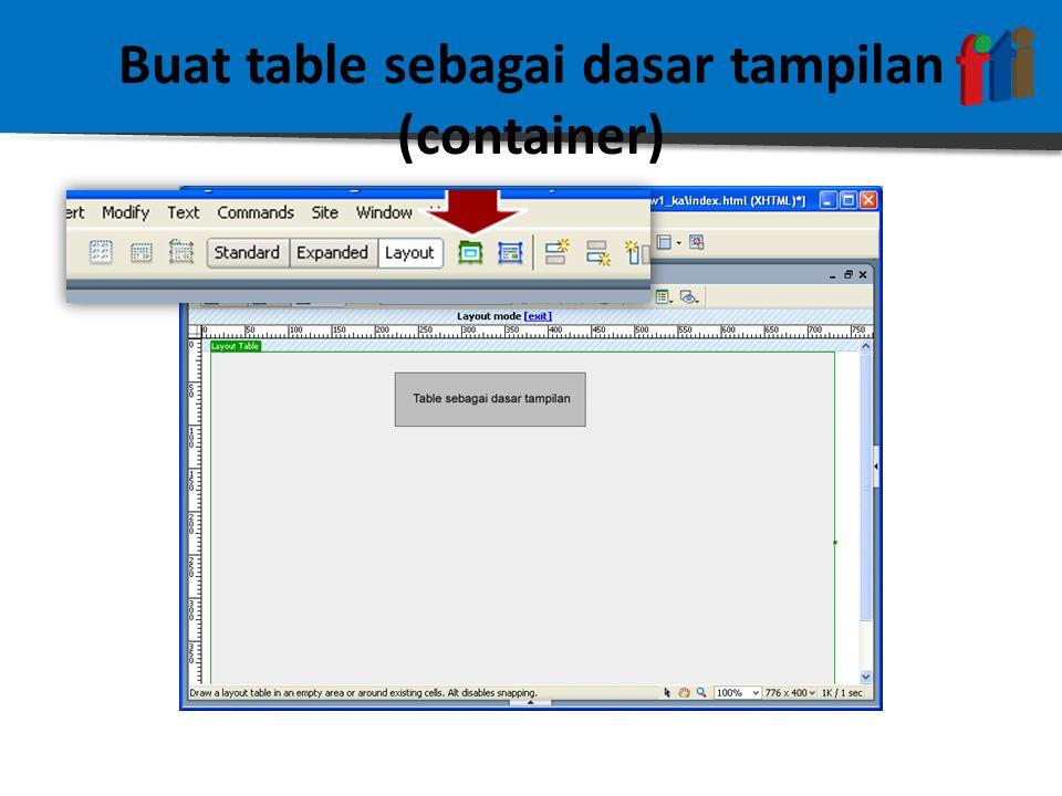 Buat table sebagai dasar tampilan (container)