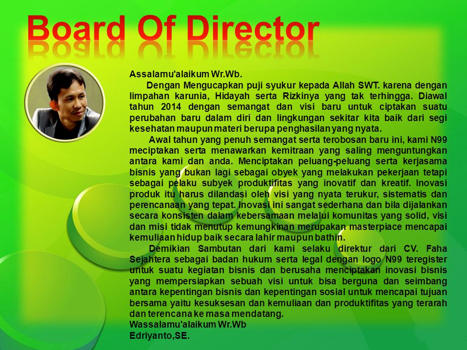 Board Of Director Assalamu alaikum Wr.Wb.