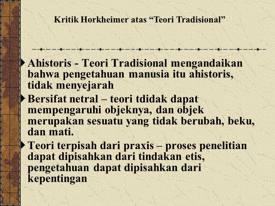 Kritik Horkheimer atas Teori Tradisional