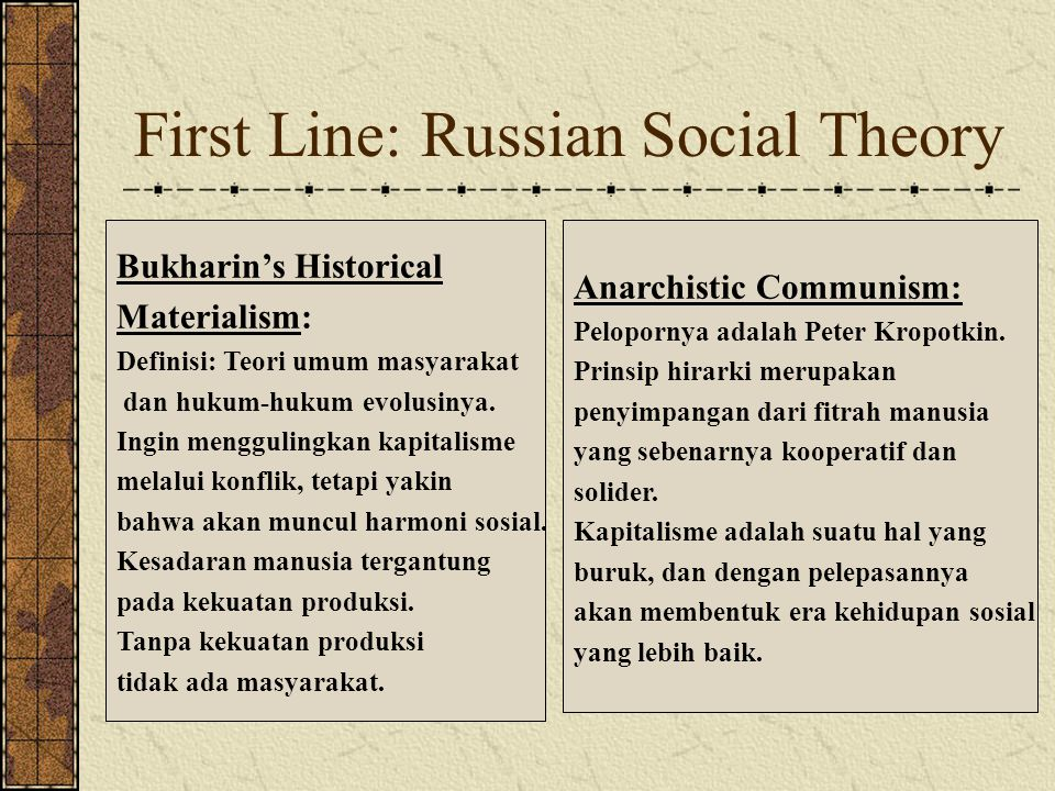 First Line: Russian Social Theory