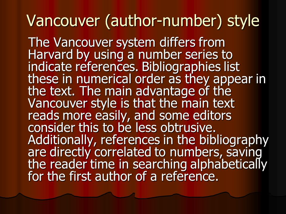 Vancouver (author-number) style