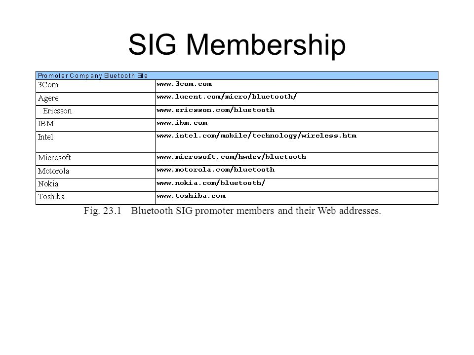 SIG Membership Fig. 23.1 Bluetooth SIG promoter members and their Web addresses.