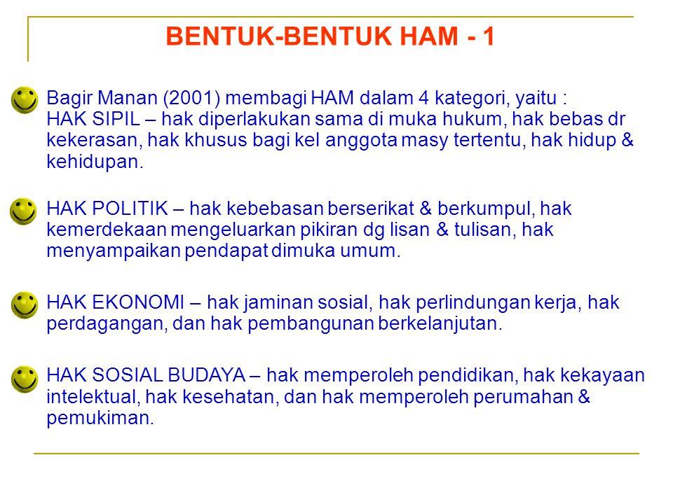 BENTUK-BENTUK HAM - 1 Bagir Manan (2001) membagi HAM dalam 4 kategori, yaitu :
