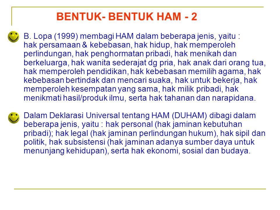 BENTUK- BENTUK HAM - 2 B. Lopa (1999) membagi HAM dalam beberapa jenis, yaitu :