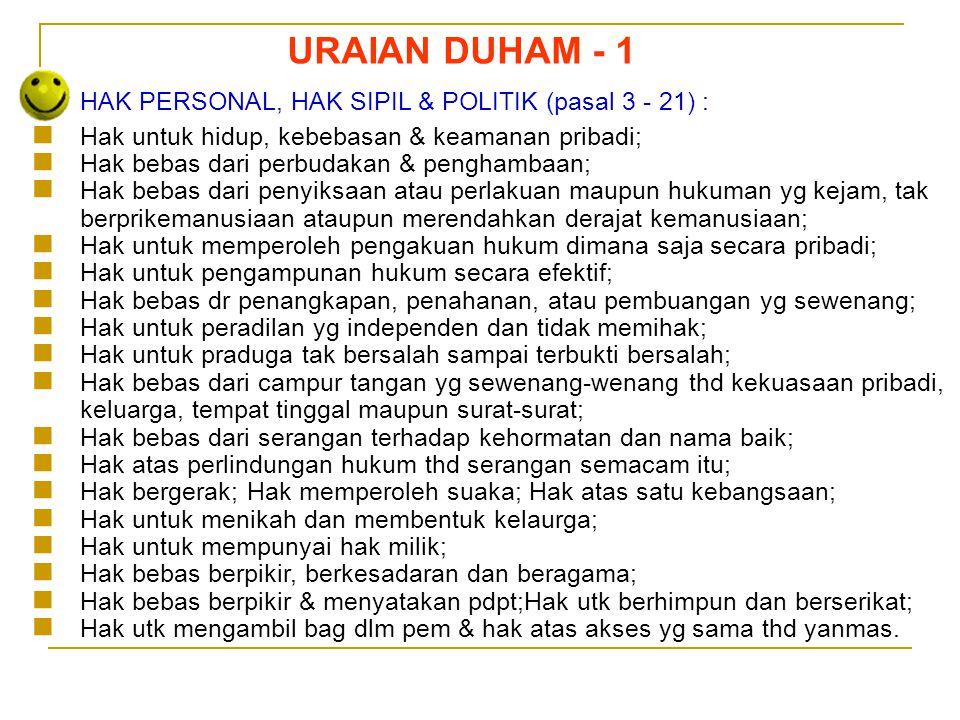 URAIAN DUHAM - 1 HAK PERSONAL, HAK SIPIL & POLITIK (pasal 3 - 21) :