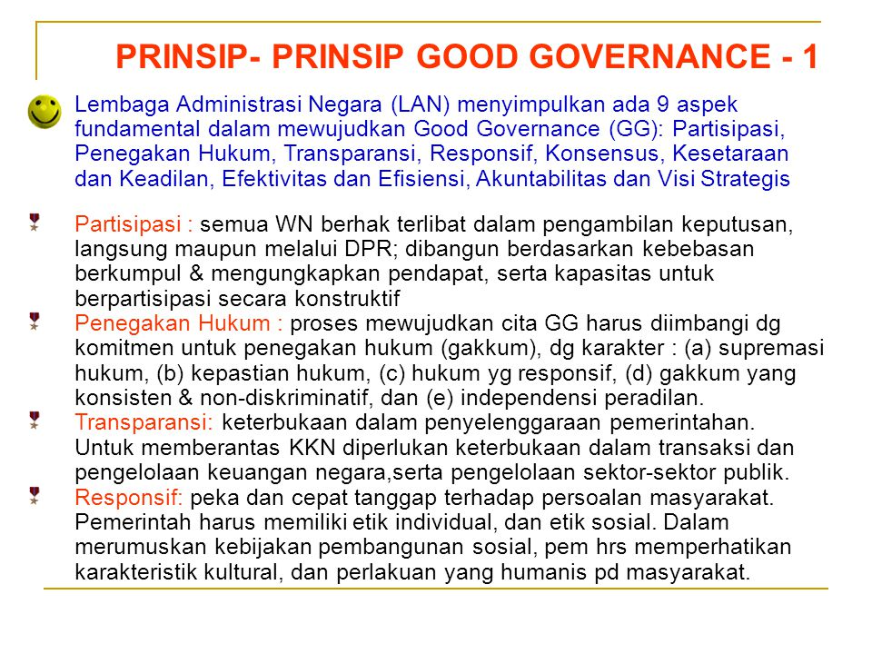 PRINSIP- PRINSIP GOOD GOVERNANCE - 1