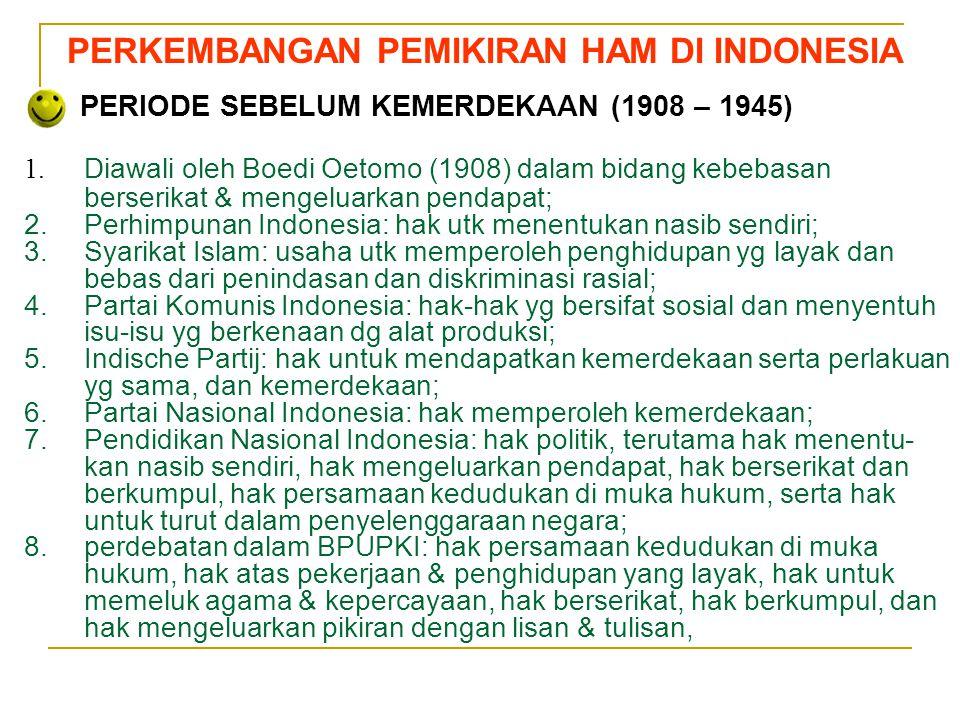 PERKEMBANGAN PEMIKIRAN HAM DI INDONESIA