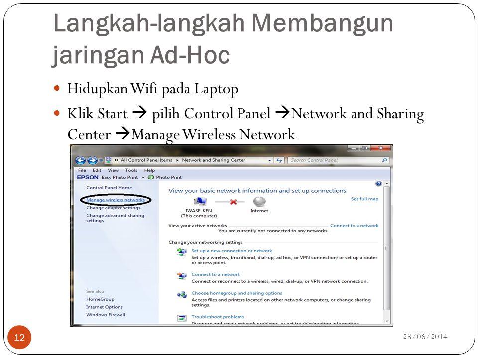 Langkah-langkah Membangun jaringan Ad-Hoc