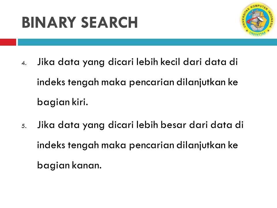 BINARY SEARCH Jika data yang dicari lebih kecil dari data di indeks tengah maka pencarian dilanjutkan ke bagian kiri.