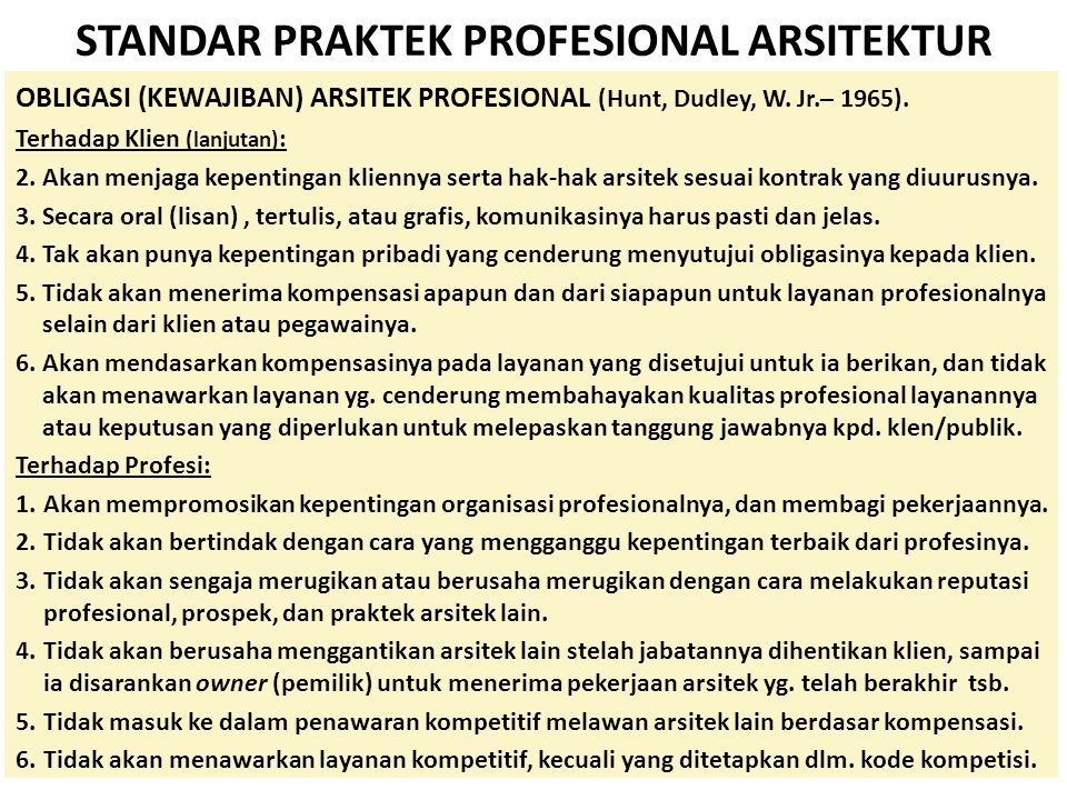 STANDAR PRAKTEK PROFESIONAL ARSITEKTUR
