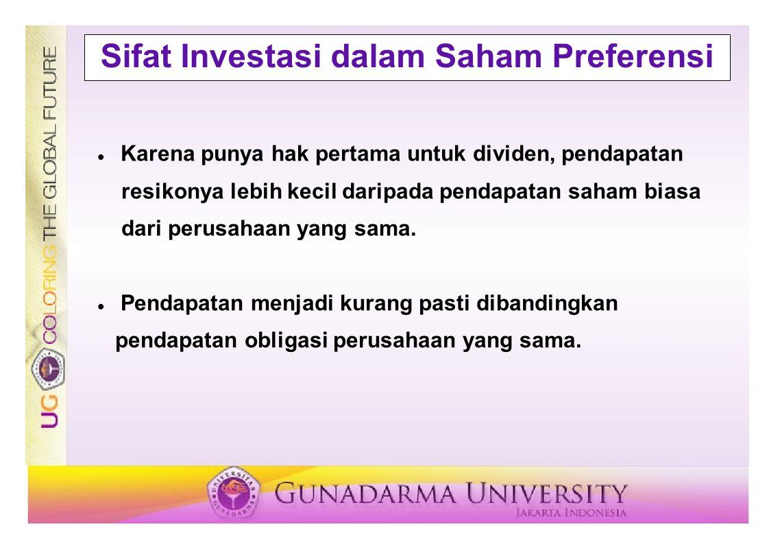 Sifat Investasi dalam Saham Preferensi