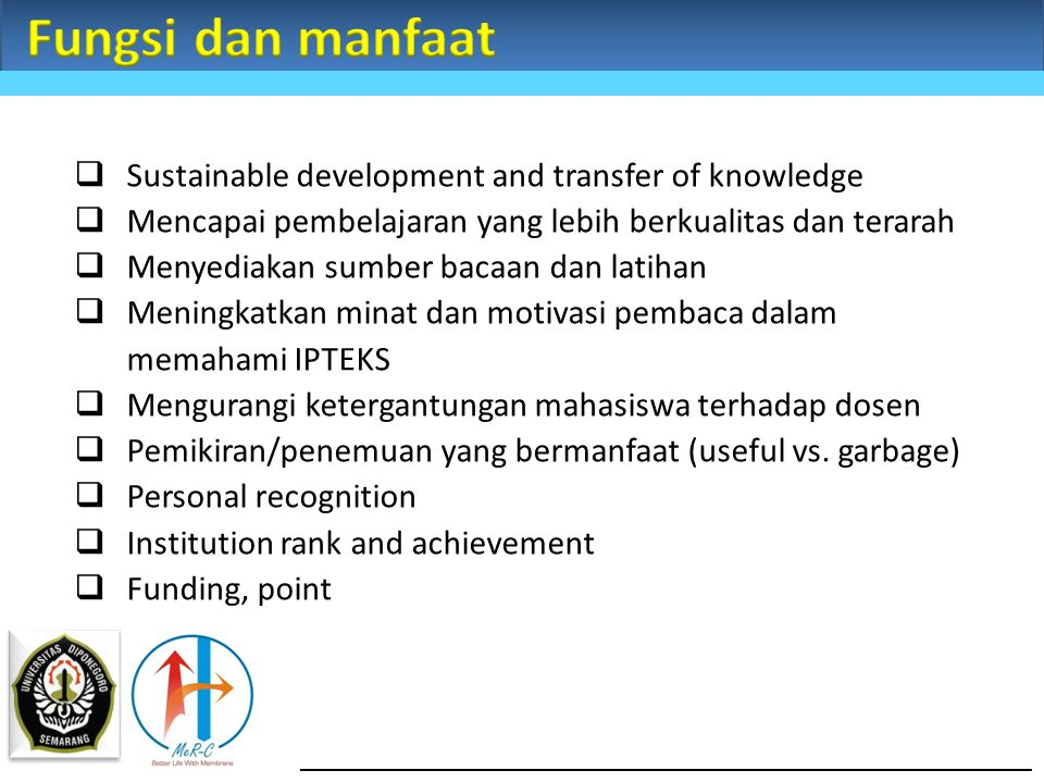 Fungsi dan manfaat Sustainable development and transfer of knowledge
