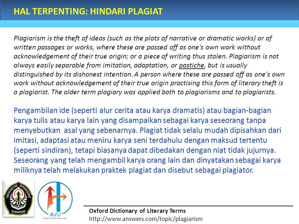 HAL TERPENTING: HINDARI PLAGIAT