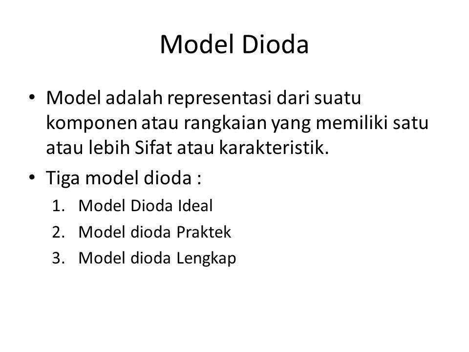Model Dioda Model adalah representasi dari suatu komponen atau rangkaian yang memiliki satu atau lebih Sifat atau karakteristik.