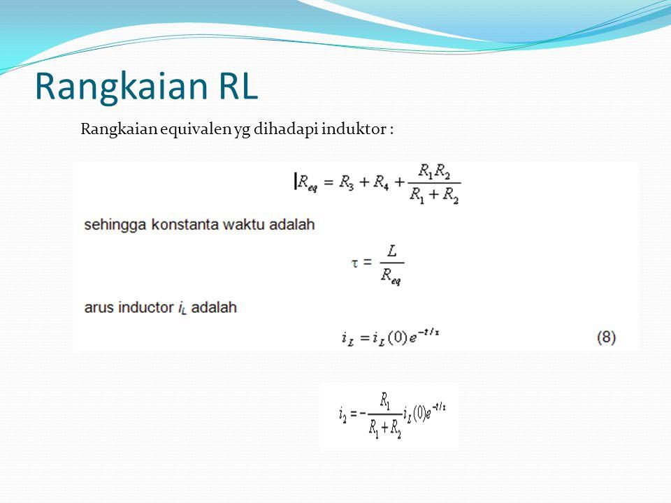 Rangkaian RL Rangkaian equivalen yg dihadapi induktor :