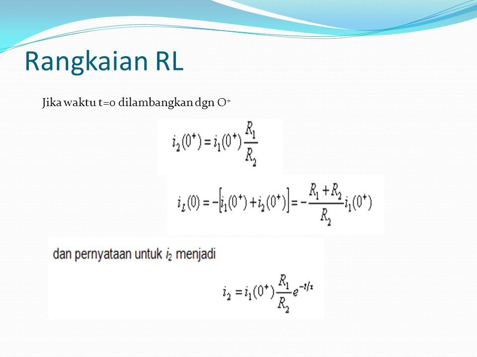 Rangkaian RL Jika waktu t=0 dilambangkan dgn O+