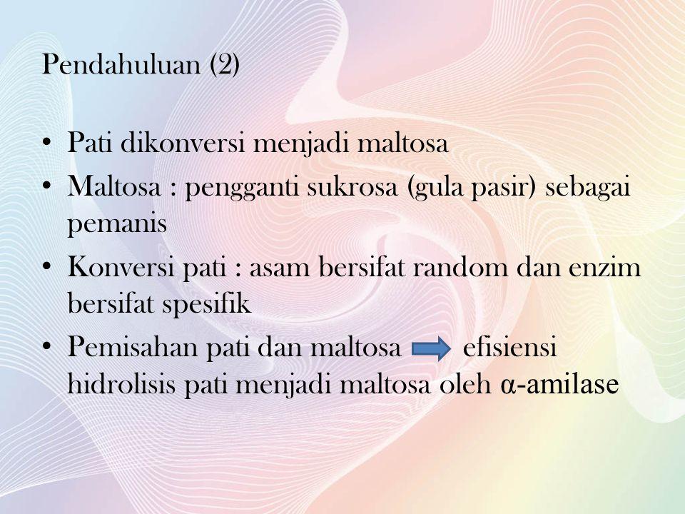 Pendahuluan (2) Pati dikonversi menjadi maltosa. Maltosa : pengganti sukrosa (gula pasir) sebagai pemanis.